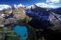 Aerial of Lake O´hara, Yoho Provincial Park, British Columbia, Canada