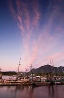 Tofino waterfront, government dock at twilight, Vancouver Island, British Columbia, Canada
