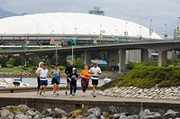 Jogging along False Creek, Vancouver, British Columbia, Canada