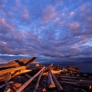 Evening Light, clouds and driftwood on Savary Island, British Columbia, Canada