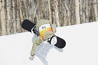 Snowboarder Riding a Half Pipe
