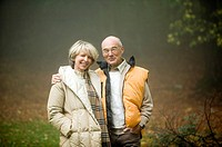 Germany, Baden-Württemberg, Swabian mountains, Senior couple embracing, portrait