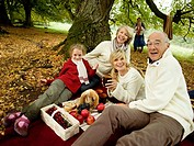 Germany, Baden-Württemberg, Swabian mountains, Three generation family having picnic in forest
