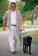 Man Walking with Seeing Eye Dog