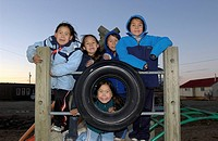Girls in Playground, Cambridge Bay, Nunavut