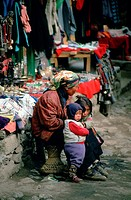 Mother and children at the Namche Bazaar, Nepal