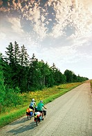 Cyclists on old Road, Beausejour, Manitoba