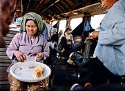 Woman Sells Jackfruit on the Train to Battambang, Cambodia