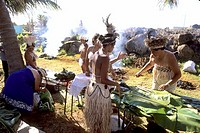 Natives preparing Traditional Food, Tapati Festival, Easter Island
