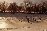 Group Playing Hockey, The Forks, Winnipeg, Manitoba