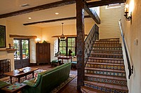 Spanish Style Stairway and Living Room