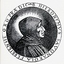 Portrait from a medal of Girolamo Savonarola. aka Jerome Savonarola or Hieronymus Savonarola 1452 - 1498. Italian Dominican priest. Illustration from ...