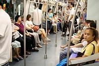 Passengers in metro, Singapore, Asia