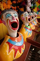 Ball-catching-clowns attraction, Luna Park near Sydney Harbour Bridge, Sydney, New South Wales, Australia