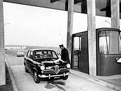 autostrada del sole, casello di melegnano, 1958