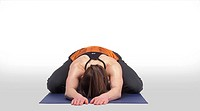 Caucasian Woman Posing On A Yoga Mat