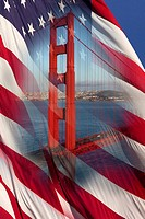 Golden Gate and American Flag