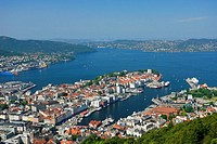 Bergen from Mount Fløyen, Norway, Europe