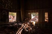 Cinder Blocks Piled Under Windows