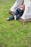 Man Entering Tent