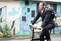 Businessman Riding Bike