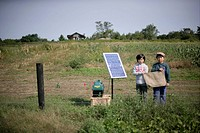 Boys and solar panel