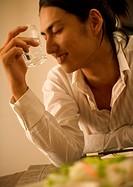 Man enjoying to drink Japanese Vodka