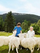 Young girl and young boy smiling and feeding herd of sheep in a field