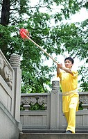 Man practising martial arts with chinese spear