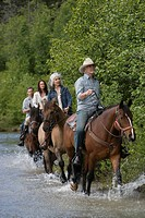 Four horse riders in row crossing river by forest