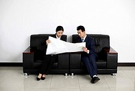 Businessman and businesswoman looking at plan