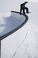 Snowboarder Doing a Railslide