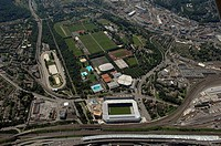 Aerial view of buildings with stadium, St. Jakob_Park, Basel, Basel_Stadt, Switzerland