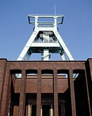 Mining industry museum against blue sky, Bochum, North Rhine_Westphalia, Germany