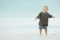 Little boy on beach, splashing, looking up