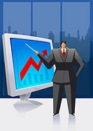 Businessman holding a stick and pointing towards a visual screen