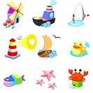 Various animals with boats on a white background
