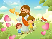 Jesus Christ walking with two children
