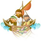 Side profile of two men fishing with Jesus Christ on a boat