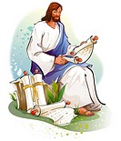 Jesus Christ reading scrolls