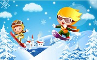 Boy and a girl skateboarding on snow