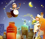 Girl flying on a broom and a boy throwing stars on her