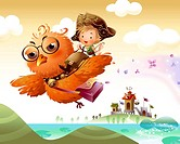 Boy riding an owl in the sky