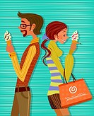 Side profile of a man and a woman standing back to back and eating ice cream