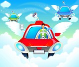Businessman driving a car in the sky