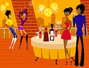 Couple holding glasses of wine with two women dancing in a bar