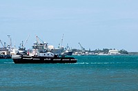 Military ships at a commercial dock, Pearl Harbor, Honolulu, Oahu, Hawaii Islands, USA