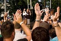 Group of people clapping, Washington DC, USA