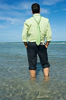 Rear view of a mid adult man standing on the beach with his hands in his pockets