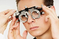 Young man having sight test in an doctor´s office